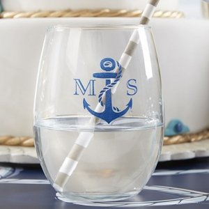 Nautical Theme Personalized Stemless Wine Glasses (9 oz) image