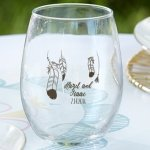 Personalized Boho Design Stemless Wine Glass Favors