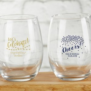 Personalized 9 oz Party Time Stemless Wine Glass image