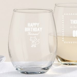 Personalized Woodland Birthday Stemless Wine Glasses image