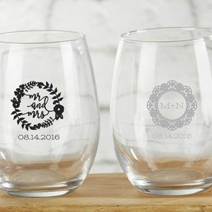 Personalized Romantic Garden 9 oz Stemless Wine Glass image