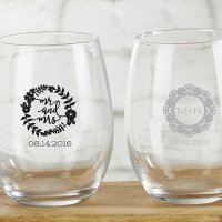 Personalized Romantic Garden 9 oz Stemless Wine Glass