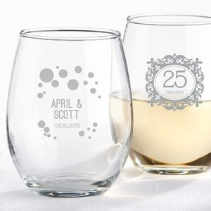 Milestone Silver 9 oz. Stemless Wine Glass Party Favors image