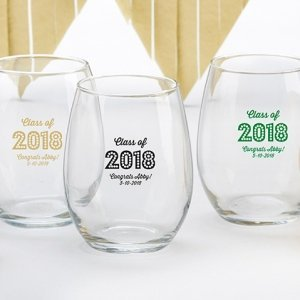 Personalized Class of 2017 Wine Glass Favors image