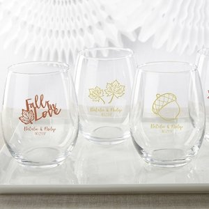 Personalized Fall Design 15 oz Stemless Wine Glass image