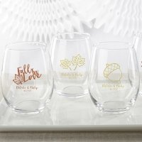 Personalized Fall Design 15 oz Stemless Wine Glass