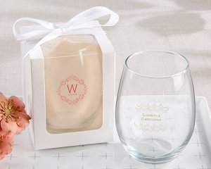 Personalized Modern Romance 15 oz Stemless Wine Glass image