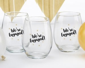 We're Engaged 15 oz Stemless Wine Glass (Set of 4) image