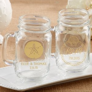 Personalized Beach Tides Mason Jar Mug Favor image