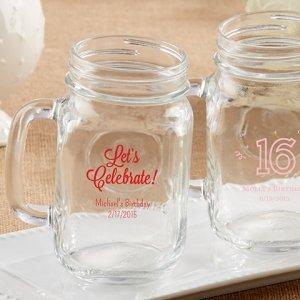 Personalized 16 oz Birthday Party Mason Jar Mug Favors image