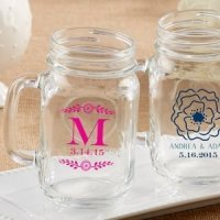 Personalized Botanical Mason Jar Mug Favor