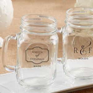 Personalized Classic Theme 16 oz. Mason Jar Mug Favors image
