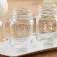 Personalized 'He Asked She Said Yes' Mason Jar Mug Favors