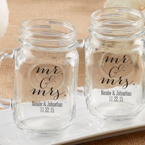 Personalized Mr. & Mrs. Mason Jar Mug Favor image