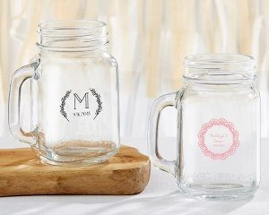Personalized 16 oz Rustic Charm Wedding Mason Jar Mug image