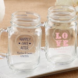 Personalized Wedding Mason Jar Mug (16 oz) image