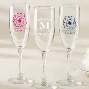 Personalized Botanical Design Champagne Flute Favor image