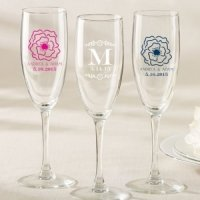 Personalized Botanical Design Champagne Flute Favor