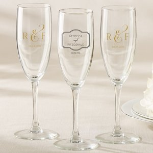 Personalized Classic Design Champagne Flute Wedding Favors image