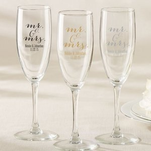 Personalized Mr. & Mrs. Champagne Flute Favor image