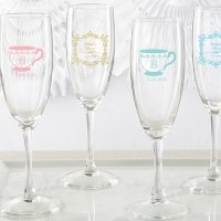 Personalized Tea Time Champagne Flute Favors