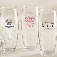 Personalized Stemless Champagne Birthday Glasses