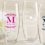 Personalized Botanical Stemless Champagne Glass Favor