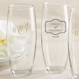 Personalized Classic Design Champagne Glass Favors image