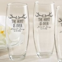Personalized 'The Hunt is Over' Stemless Champagne Glasses