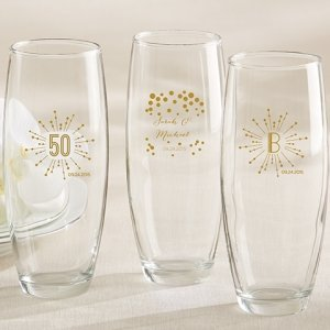 Milestone Gold Personalized Stemless Champagne Glasses image