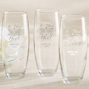 'He Asked She Said Yes' Stemless Champagne Glasses image