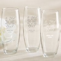 'He Asked She Said Yes' Stemless Champagne Glasses