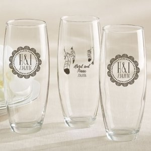 Personalized Boho Stemless Champagne Glass Favors image