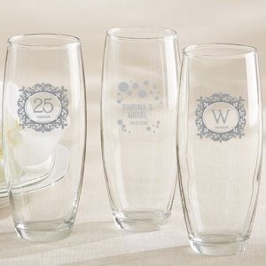 Milestone Silver Personalized Stemless Champagne Glasses image
