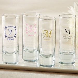 Personalized Tall Shot Glass Wedding Favors image
