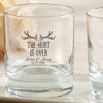 Personalized 'The Hunt is Over' Rocks Glass Favors