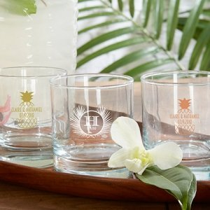 Personalized Tropical Chic 9 oz Rocks Glass image