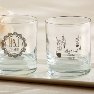 Personalized Bohemian Design Rocks Glass Favors image