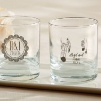 Personalized Bohemian Design Rocks Glass Favors