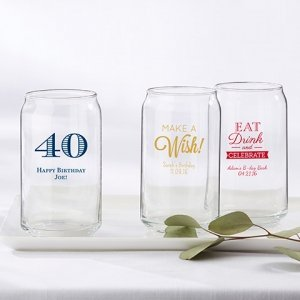 Personalized Birthday Party Can Glass Favors image