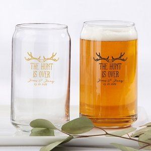 Personalized The Hunt is Over Can Glass Favors image