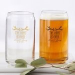 Personalized The Hunt is Over Can Glass Favors