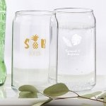 Personalized Pineapples and Palms Can Glass