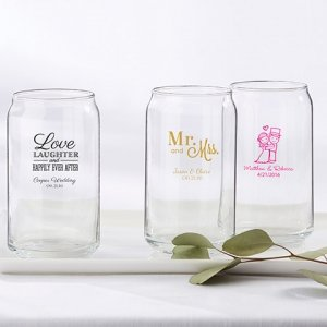 Personalized Wedding Can Glass Favors image