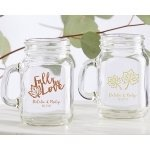 Personalized Fall Design Mini Mason Mug Glass Favors
