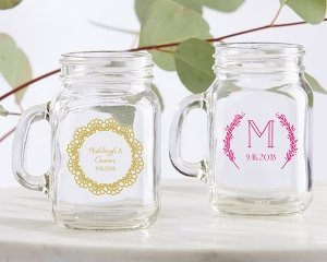 Personalized Rustic Charm Wedding Mini Mason Jar Favors image