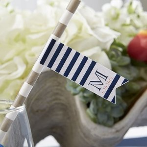 Personalized Nautical Party Straw Flags image