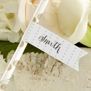 Personalized Rustic Party Straw Flags image