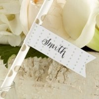 Personalized Rustic Party Straw Flags