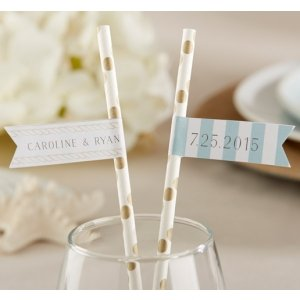 Personalized Beach Design Party Straw Flags image